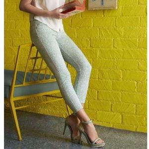 7 For All Mankind Lace Print Skinny Cropped Jeans